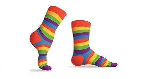 Set of striped multicolor socks, illustration